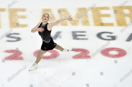 Stock Photo of Gracie Gold of the United States competes during women's freestyle program in the International Skating Union Grand Prix of Figure Skating Series, in Las Vegas