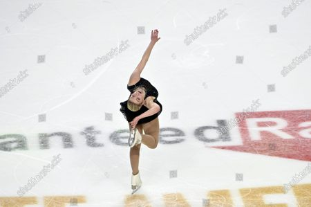 Gracie Gold of the United States competes during women's freestyle program in the International Skating Union Grand Prix of Figure Skating Series, in Las Vegas