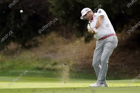 Ryan Palmer hits from the 18th fairway during the third round of the Zozo Championship golf tournament, in Thousand Oaks, Calif