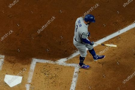 Los Angeles Dodgers' Chris Taylor strikes out against the Tampa Bay Rays to end the top of the second inning in Game 4 of the baseball World Series, in Arlington, Texas