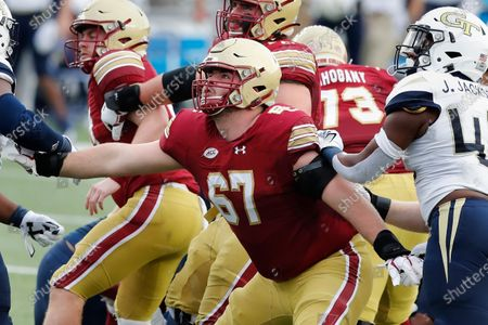 Stock Picture of Boston College offensive lineman Jack Conley (67) plays against Georgia Tech during the first half of an NCAA college football game, in Boston