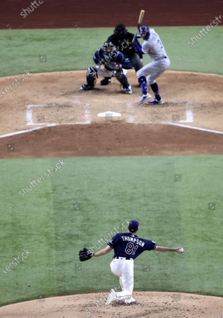 Tampa Bay Rays pitcher Ryan Thompson (B) throws against Los Angeles Dodgers batter Chris Taylor in the top of the fourth inning of Major League Baseball's World Series Game four at Globe Life Field in Arlington, Texas, USA, 24 October 2020.