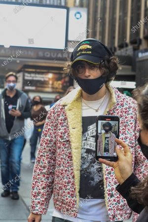 Actor Timothee Chalamet poses after voting at Madison Square Garden which became a polling place for up to 60,000 New Yorkers for early voting and Election Day into on the first day of early voting in New York City.