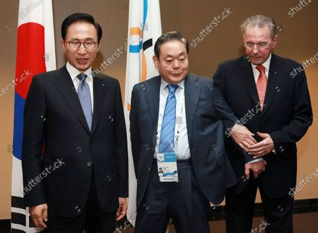 President of the International Olympic Committee (IOC) Jacques Rogge, right, meets with South Korean President Lee Myung-bak, left, and Samsung Chairman Lee Kun-hee in Durban, South Africa, ahead the opening ceremony for the 123rd IOC session that would decide the host city for the 2018 Olympics Winter Games. Lee, the ailing Samsung Electronics chairman who transformed the small television maker into a global giant of consumer electronics, has died, a Samsung statement said . He was 78