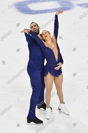 Stock Picture of Ashley Cain-Gribble and Timothy Leduc of the United States compete during the pairs free skating program in the International Skating Union Grand Prix of Figure Skating Series, in Las Vegas