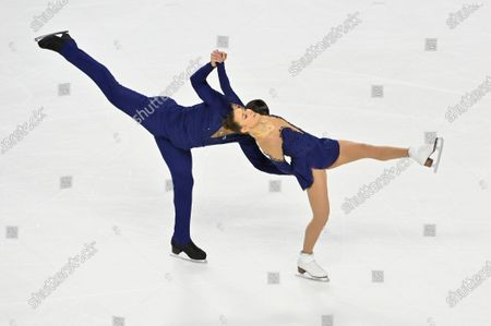 Ashley Cain-Gribble and Timothy Leduc of the United States compete during the pairs free skating program in the International Skating Union Grand Prix of Figure Skating Series, in Las Vegas
