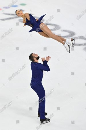 Stock Image of Ashley Cain-Gribble and Timothy Leduc of the United States compete during the pairs free skating program in the International Skating Union Grand Prix of Figure Skating Series, in Las Vegas