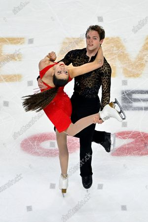 Caroline Green and Michael Parsons of the United States compete during the ice dance free dance program in the International Skating Union Grand Prix of Figure Skating Series, in Las Vegas