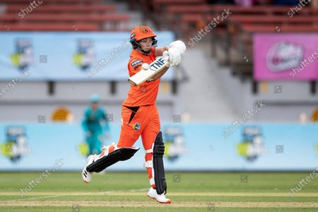 Heather Graham of the Perth Scorchers plays a shot during the week 1 Women's Big Bash League cricket match between Perth Scorchers and Brisbane Heat.