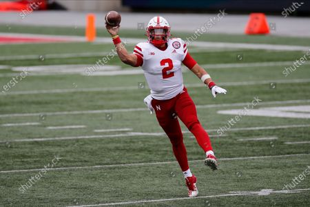Nebraska quarterback Adrian Martinez plays against Ohio State during an NCAA college football game, in Columbus, Ohio
