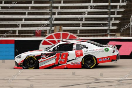 Xfinity Series driver Brandon Jones (19) races on the front stretch during a NASCAR Xfinity Series auto race at Texas Motor Speedway in Fort Worth, Texas