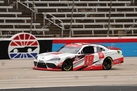 Xfinity Series driver Brandon Jones (19) comes out of turn four on the front stretch during a NASCAR Xfinity Series auto race at Texas Motor Speedway in Fort Worth, Texas