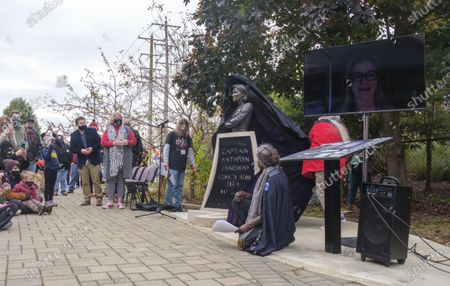 Editorial photo of Kathryn Janeway statue unveiling in Bloomington, US - 24 Oct 2020