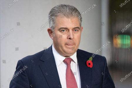 Secretary of State for Northern Ireland Brandon Lewis speaks to the media outside the BBC. Later he will appear on the Andrew Marr Show.