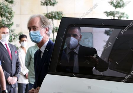 UN Special Envoy to Syria Geir Pedersen returns following a meeting with Syrian Foreign Minister Walid al-Muallem in Damascus, Syria, 25 October 2020. Pedersen is in Syria on a three-days visit including talks on a resumption of the Syrian Constitutional Committee.