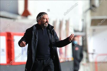 Aberdeen Manager Derek McInnes pointing, directing, signalling, gesture  during the Scottish Premiership match between Aberdeen and Celtic at Pittodrie Stadium, Aberdeen