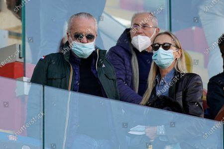 Napoli's president Aurelio De Laurentis and hs wife during the Italian Serie A soccer match Benevento Calcio vs SSC Napoli at Ciro Vigorito stadium in Benevento, Italy, 25 October 2020.