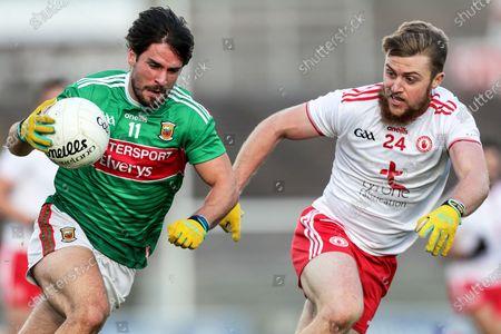 Mayo vs Tyrone. Mayo's Mark Moran and Michael O'Neill of Tyrone
