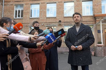 Kyiv city head hopeful, Ukrainian TV presenter and actor Serhiy Prytula answers reporters' questions after voting in the 2020 Ukrainian local elections, Kyiv, capital of Ukraine.