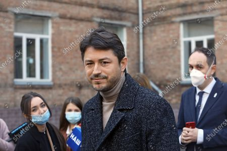Kyiv city head hopeful, Ukrainian TV presenter and actor Serhiy Prytula is pictured outside a polling station upon voting in the 2020 Ukrainian local elections, Kyiv, capital of Ukraine.