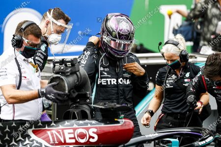 Stock Photo of Lewis Hamilton, Mercedes-AMG Petronas F1 and Angela Cullen, Physio for Lewis Hamilton on the grid during the 2020 Formula One Portuguese Grand Prix