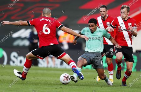 Stock Photo of Oriol Romeu (L) and James Ward-Prowse (R) of Southampton in action against Allan of Everton during the English Premier League match between Southampton and Everton in Southampton, Britain, 25 October 2020.