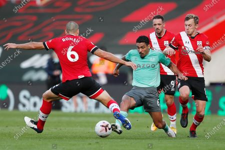 Stock Picture of Everton's Allan, centre challenges for the ball with Southampton's Oriol Romeu, left during an English Premier League soccer match between Southampton and Everton at the St. Mary's stadium in Southampton, England