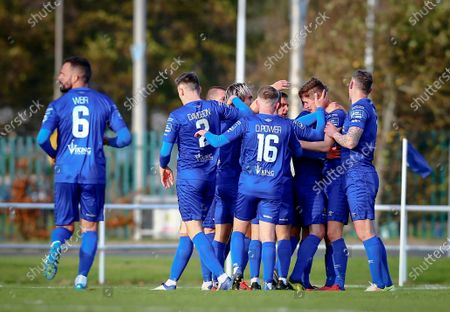 Stock Picture of Waterford vs Dundalk. Waterford's John Martin is congratulated by team mates