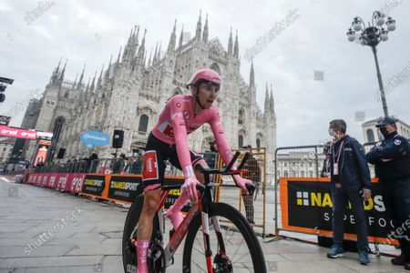 Stock Image of Australia's Jai Hindley rides past the gothic cathedral after compelting the final stage of the Giro d'Italia cycling race, a 15.7 kilometers (9.756 miles) individual time trial from Cernusco sul Naviglio to Milan, Italy