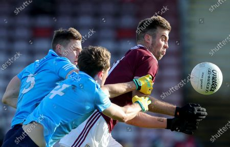 Galway vs Dublin. Dublin's John Small and Michael Fitzsimons tackle Paul Conroy of Galway