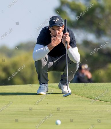 Stock Picture of Spanish tennis player Rafael Nadal competes in Balearic Golf Championship at Maioris golf club in Llucmajor, Majorca island, eastern Spain, 25 October 2020.