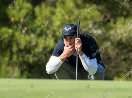 Spanish tennis player Rafael Nadal competes in Balearic Golf Championship at Maioris golf club in Llucmajor, Majorca island, eastern Spain, 25 October 2020.