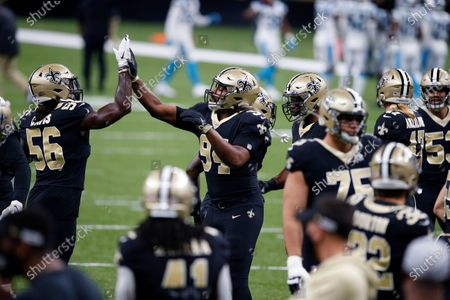 New Orleans Saints defensive end Cameron Jordan (94) warms up before an NFL football game against the Carolina Panthers in New Orleans