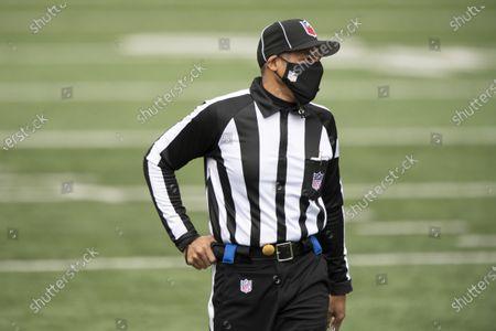 Head linesman Greg Bradley (98) during an NFL football game against Cleveland Browns and Cincinnati Bengals, in Cincinnati