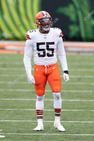 Cleveland Browns linebacker Tae Davis (55) during an NFL football game against the Cincinnati Bengals, in Cincinnati