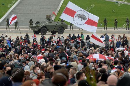 Anti-government protest in Minsk, Belarus - 25 Oct 2020 témájú szerkesztői kép