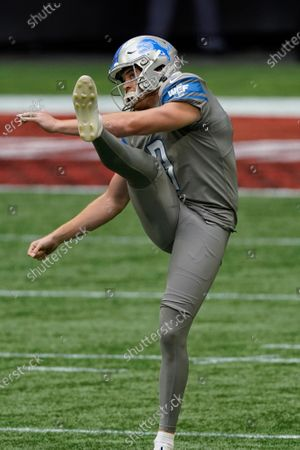 Detroit Lions punter Jack Fox (3) works against the Atlanta Falcons during the first half of an NFL football game, in Atlanta