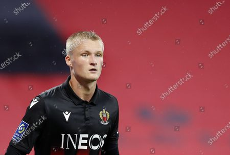 Kasper Dolberg of Nice reacts during the French Ligue 1 soccer match between OGC Nice and Lille OSC in Nice, France, 25 October 2020.