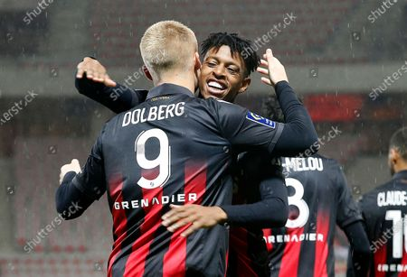 Kasper Dolberg (L) of Nice celebrates with teammate Robson Bambu (R) after scoring the 1-0 lead during the French Ligue 1 soccer match between OGC Nice and Lille OSC in Nice, France, 25 October 2020.
