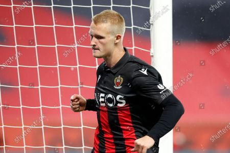 Kasper Dolberg of Nice celebrates after scoring the 1-0 lead during the French Ligue 1 soccer match between OGC Nice and Lille OSC in Nice, France, 25 October 2020.