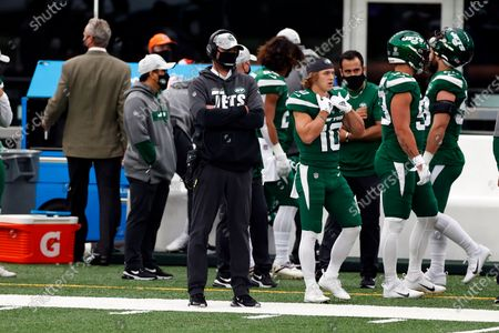 New York Jets head coach Adam Gase looks on during an NFL football game against the Buffalo Bills, in East Rutherford, N.J