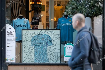 Mosaic by artist Mark Kennedy in the window of Classic Football Shirts ready for the 50 Windows of Creativity art trail which will run from October 26th to December 5th, turning the city in to a large scale art gallery.