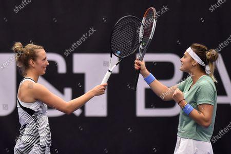Elise Mertens of Belgium, left, and Aryna Sabalenka of Belarus during the Ostrava Open 2020 tennis tournament final doubles match against Gabriela Dabrowski of Canada and Luisa Stefani of Brazil in Ostrava, Czech Republic