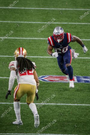 San Francisco 49ers cornerback Jason Verrett (22) defends New England Patriots running back James White (28) during the second half of an NFL football game, in Foxborough, Mass