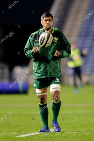 Connacht captain, Jarrad Butler (#7) of Connacht Rugby warms up before the Guinness Pro 14 match between Edinburgh Rugby and Connacht Rugby at BT Murrayfield, Edinburgh