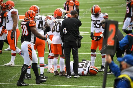 Odell Beckham Jr. #13 of the Cleveland Browns is injured during NFL football game action between the Cleveland Browns and the Cincinnati Bengals at Paul Brown Stadium on , in Cincinnati, OH