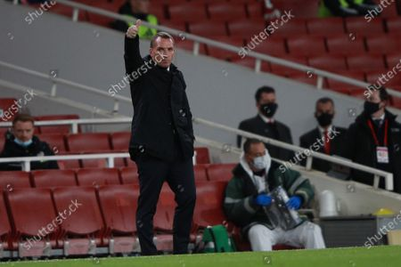 Stock Picture of Leicester City's manager Brendan Rogers reacts during the English Premier League soccer match between Arsenal FC and Leicester City in London, Britain, 25 October 2020.