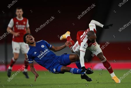 Alexandre Lacazette (R) of Arsenal in action against Wesley Fofana (C) of Leicester during the English Premier League soccer match between Arsenal FC and Leicester City in London, Britain, 25 October 2020.