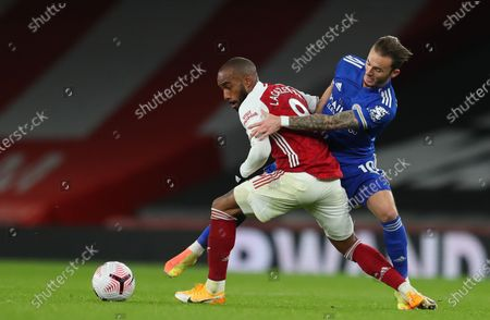 Stock Picture of Alexandre Lacazette (L) of Arsenal in action against James Maddison (R) of Leicester during the English Premier League soccer match between Arsenal FC and Leicester City in London, Britain, 25 October 2020.