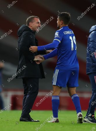 Leicester City's manager Brendan Rogers (L) celebrates with Cengiz Under (R) after winning the English Premier League soccer match between Arsenal FC and Leicester City in London, Britain, 25 October 2020.
